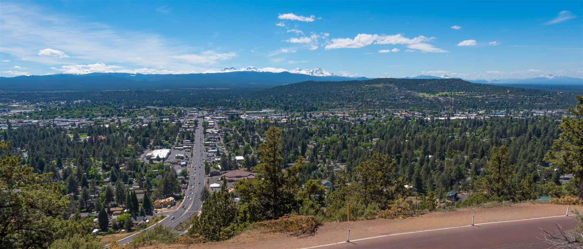 Panoramic of Bend Oregon with blue skys