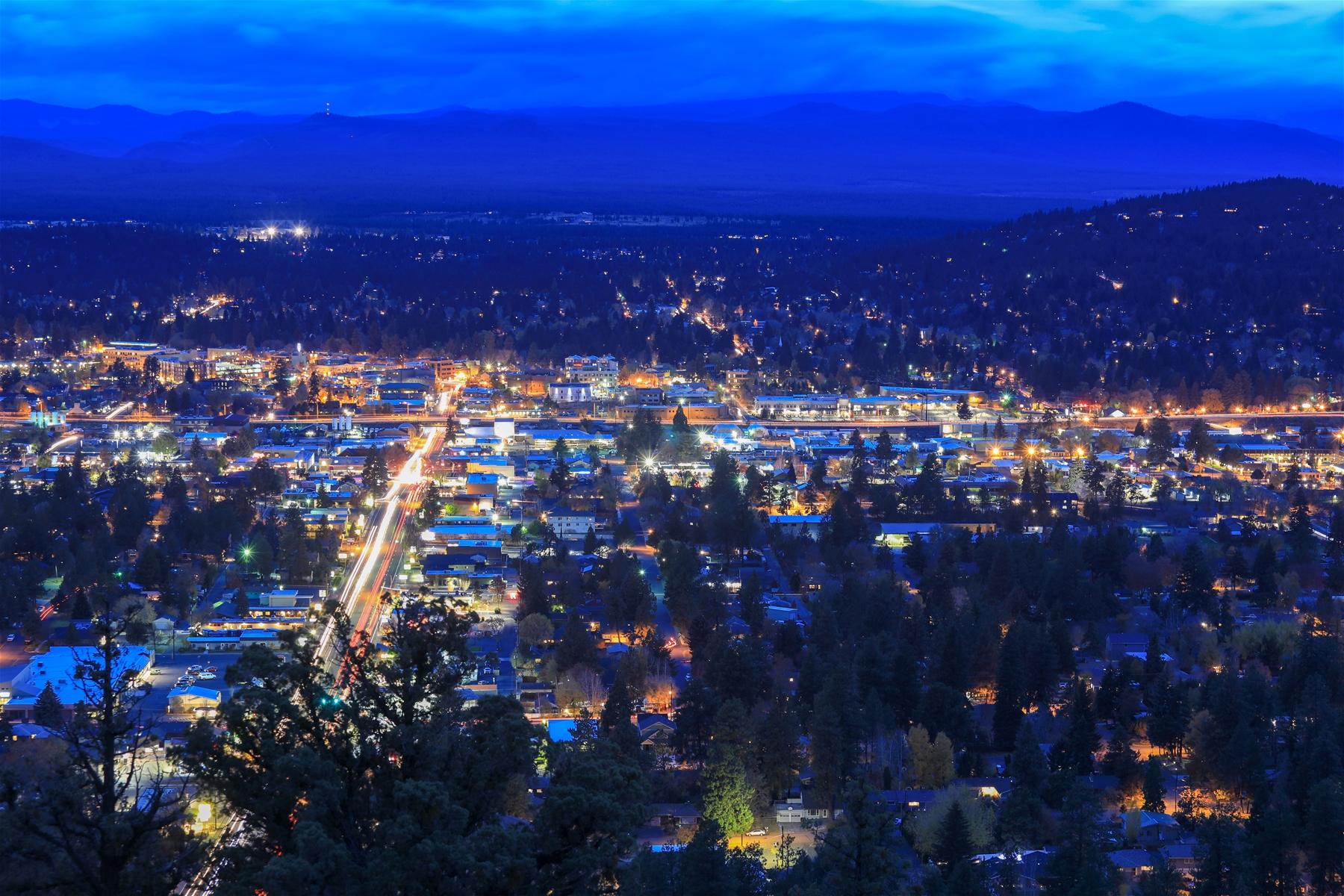 Bend Oregon city lights at night