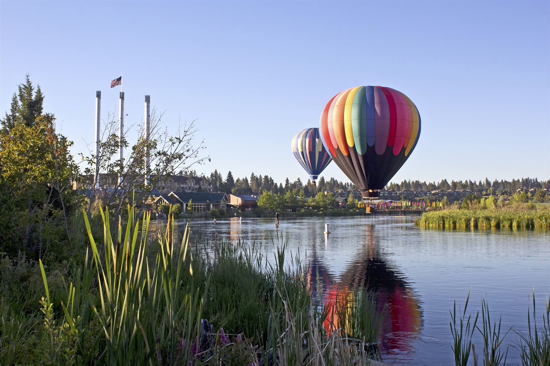 Hot Air Balloons over the river near Downtown Bend OR