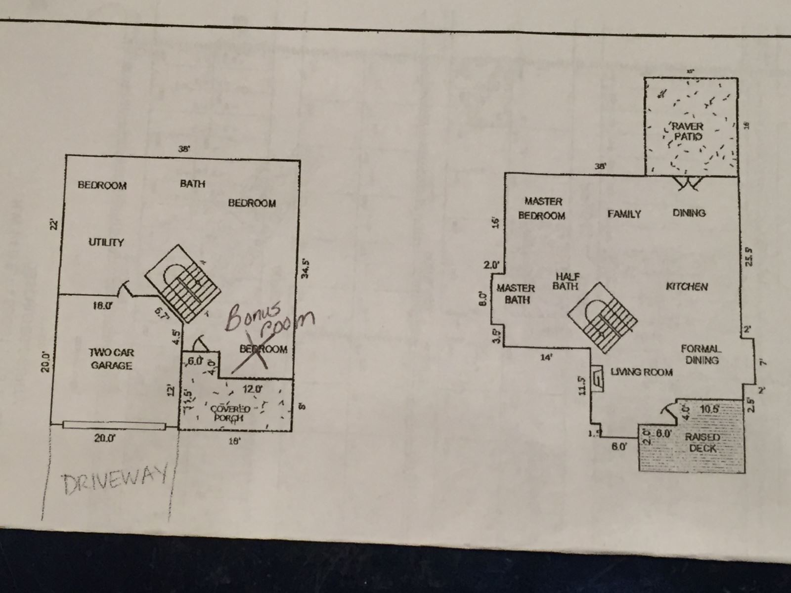 Floor Plan for Walk downtown Bend, Oregon, four bedrooms, 2.5 baths, sleeps 8! Air Conditioning Fireplace