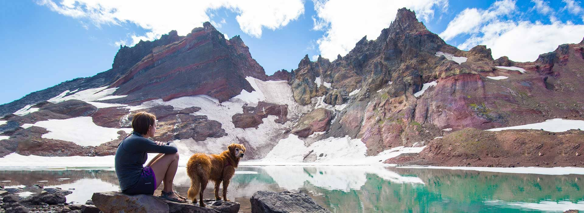 Person hiking with pet near Bend Oregon